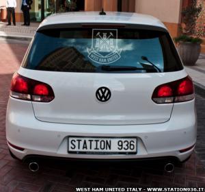 Vetrofania da auto o vetrata con logo West Ham United (fotomontaggio esempio)