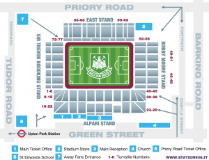 Mappa del Boleyn Ground/Upton Park