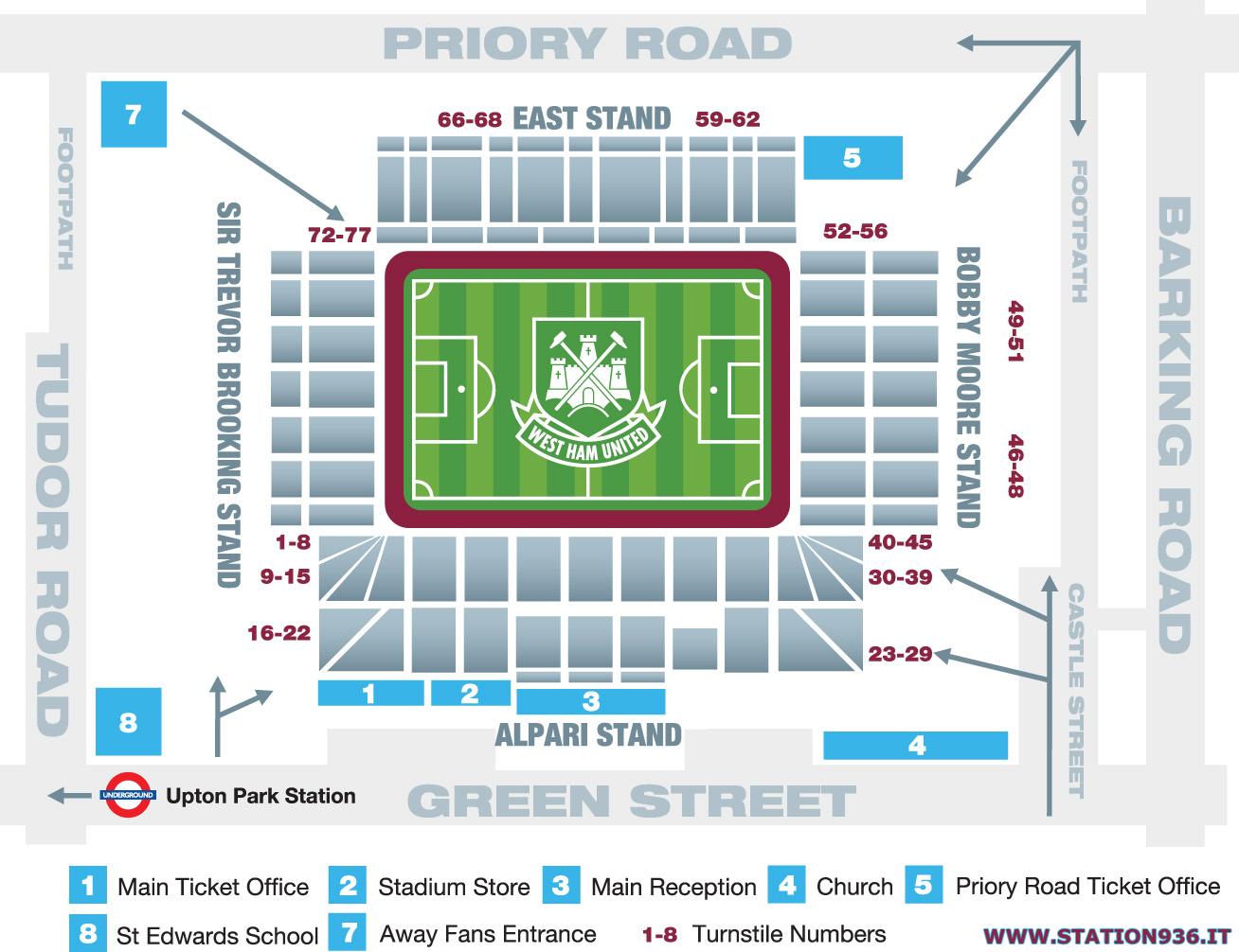 Mappa del Boleyn Ground/Upton Park