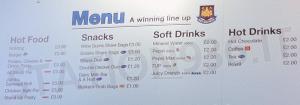 Cartellone prezzi bar Upton Park