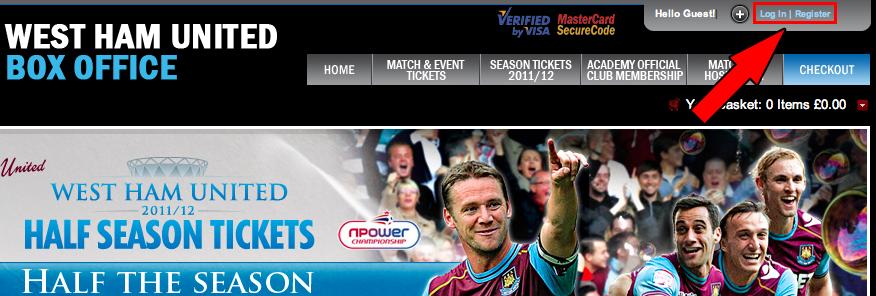 Ticket West Ham United step 1