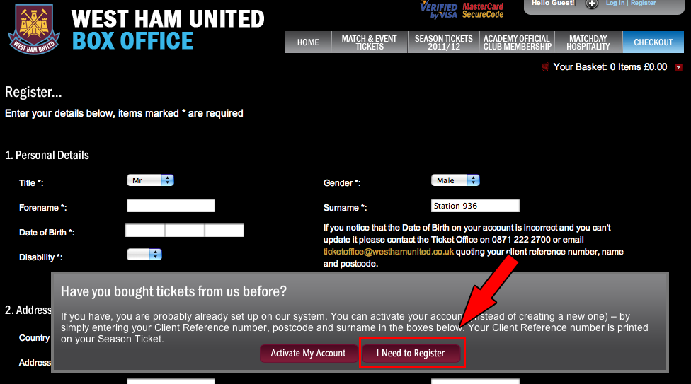 Ticket West Ham United step 3