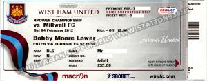 Eesempio biglietto West Ham United a Upton Park