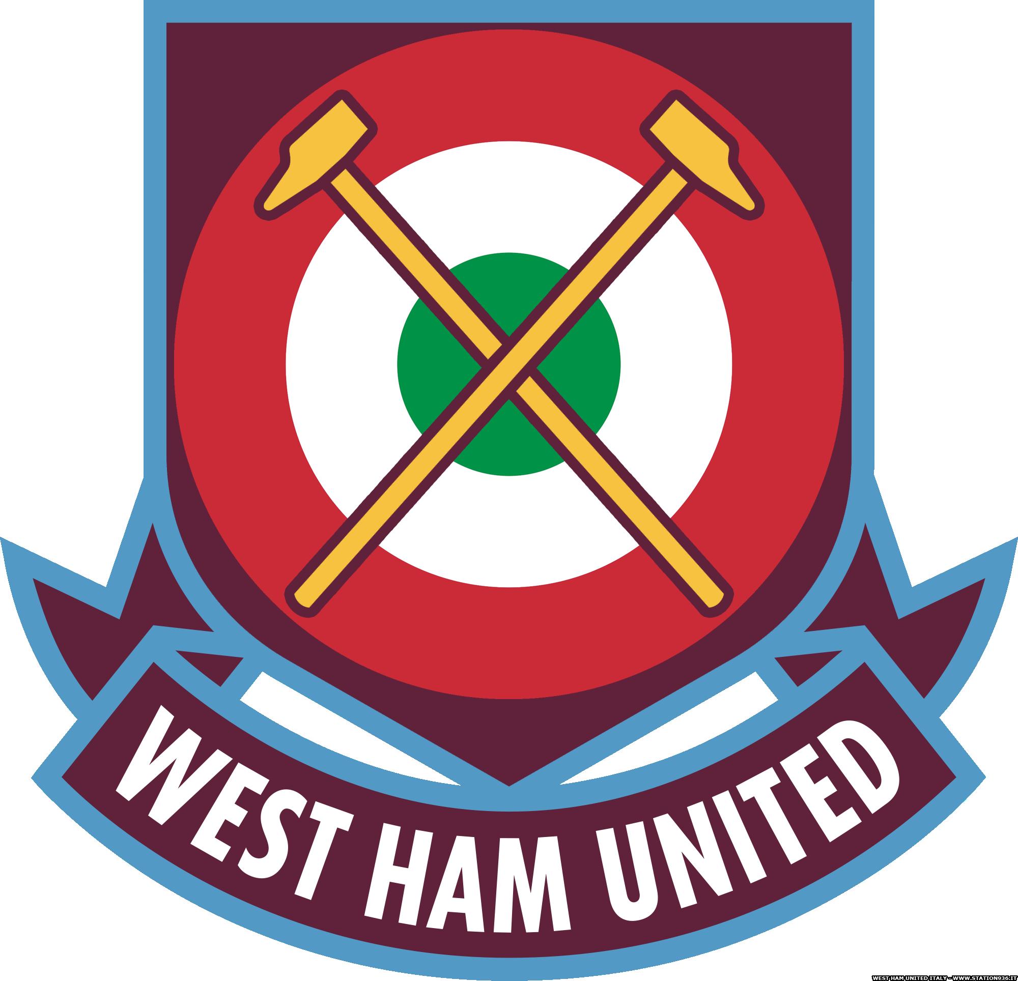 Logo West Ham Unite con coccarda tricolore Italiana