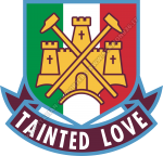 Logo West Ham United con tricolore italiano e scritta Tainted Love