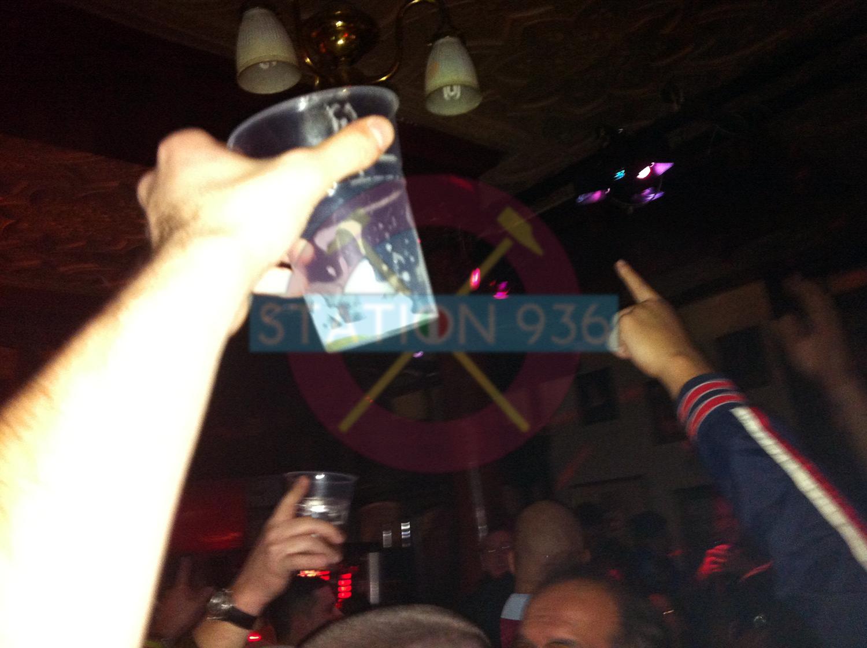 Drinking and singing at The Boleyn Pub