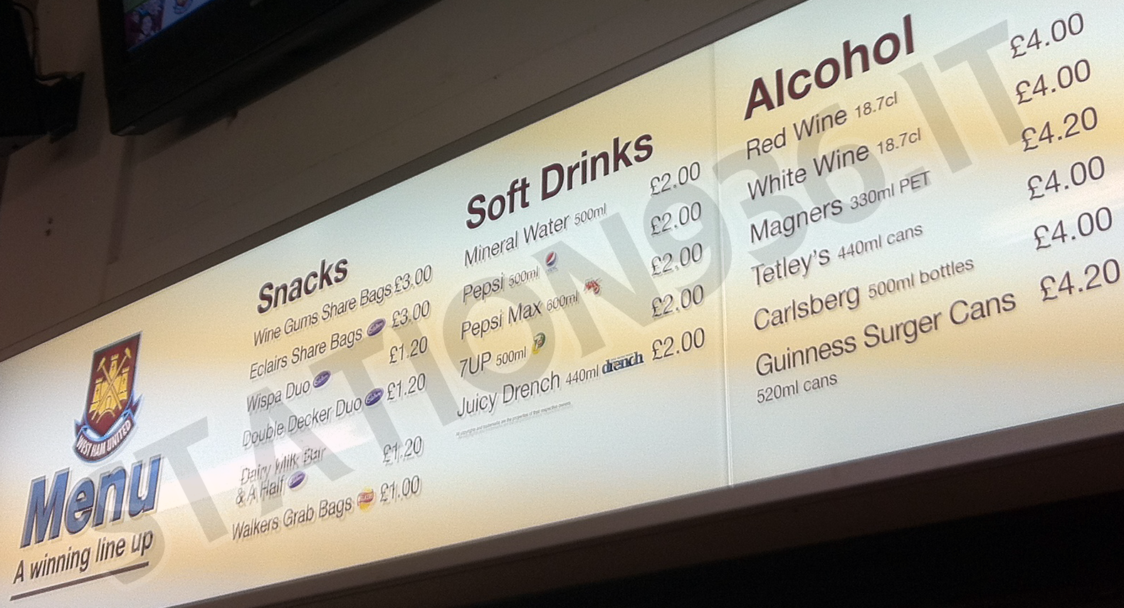 Prezzi bevande e alcolici allo stadio di Upton Park