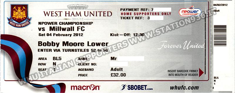 Esempio biglietti West Ham United