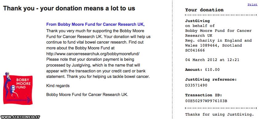 La mia donazione per il fondo Bobby Moore