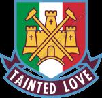 Logo West Ham United con tricolore italiano e scritta Tainted Love