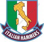 Logo Italian Hammers con sagoma dell'Italia ricoperta da martelli incrociati