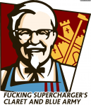 Fucking Supercharger's claret and blue army