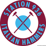 Station 936 Italian Hammers logo claret and blue